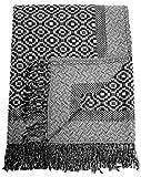 Lorenzo Cana Luxus Decke Jacquard gewebt aus Baumwolle mit feinster Wolle vom Merino - Lamm klassisch Gemustert Wohndecke Decke Wolle Sofadecke Picknickdecke Kuscheldecke Plaid 140 cm x 200 cm 96271