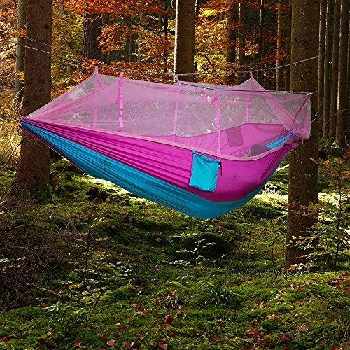 Camping Hängematte , TechCode® Moskitonetz Außen Hammock Reisebett Leichte Parachute Stoff Doppelhängematte für Innen, Camping, Wandern, Trekking, Hinterhof Rot