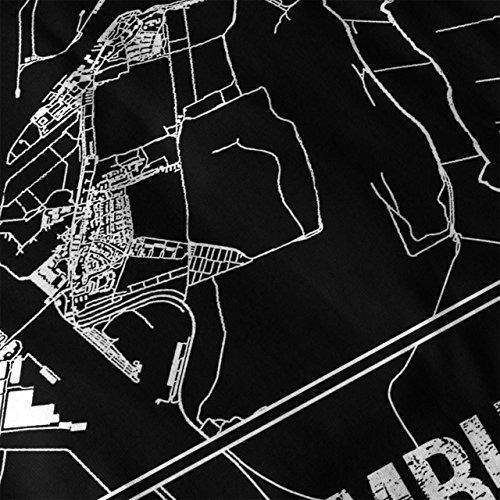 Hamburg Stadt Karte Mode Stadt Karte Damen Schwarz S-2XL T-shirt | Wellcoda Schwarz