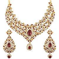 مجموعة سلسلة من المجوهرات للنساء باللون الذهبي العتيق من تتش ستون هندي من خشب البولوود بتصميم زهور تقليدي وحجر الراين الأبيض وحبة الحلوى الحمراء