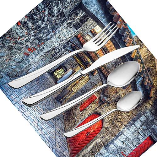 30-teiliges Besteckset, mittelalterliches Geschirr Besteckset aus rostfreiem Stahl für 6 Personen, einschließlich Messer, Gabeln, Löffel, Teelöffel und Tischset, alte Steinstraße Steinpassage in Estla