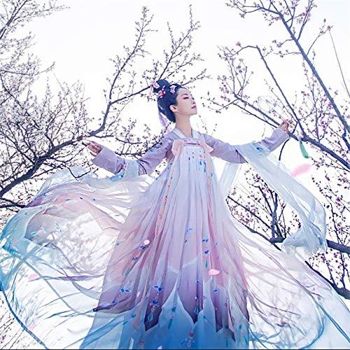 DuHLi Chinesische traditionelle Tanz Kostüme Elegante Fee Leistung Hanfu Stickerei Oriental Tang Antike Fotografie Kleid (Chinesische Tanz Kostüm Männer)