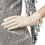 Nappaglo Damen klassische Lederhandschuhe Touchscreen Italienisches Lammfell Winter Warm Reines Kaschmir-Futter Handschuhe (S (Umfang der Handfläche:16.5-17.8cm), Cremig weiß(Non-Touchscreen))
