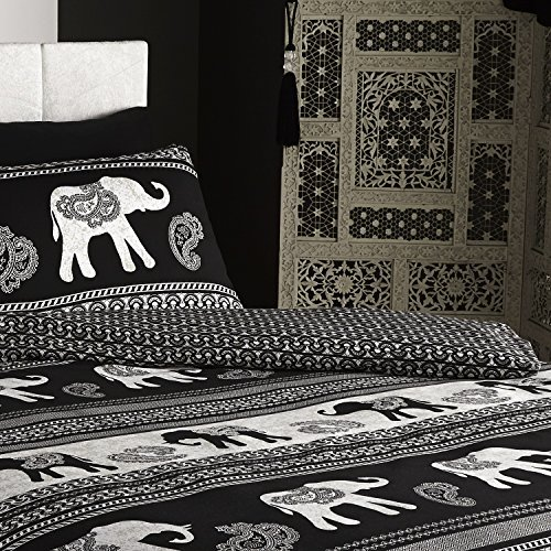 De cama Empire Indian Elephant Animal Duvet Quilt Cover Bedding Set, Black, Double