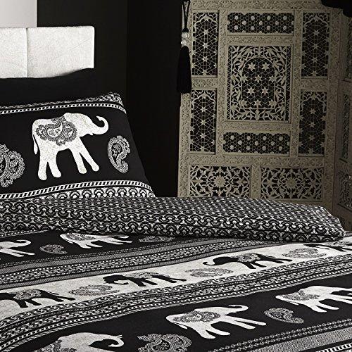 De cama Empire Indian Elephant Animal Duvet Quilt Cover Bedding Set, Black, Double