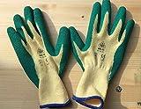 Jungfleisch Gartenhandschuhe / 5 Paar / in Größe 9 / feinste Baumwoll-Polyester-Strickhandschuhe in gelb-grün / mit hochwertiger waschbarer Natur-Latex-Beschichtung in grün / für jegliche Gartenarbeiten / nach EN 388 zertifiziert