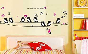 Decals Design 'Cute Singing Birds' Wall Sticker (PVC Vinyl, 50 cm x 70 cm, Multicolour)