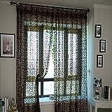 KING DO WAY Fenstervorhang Dekoschal Schlaufenschal Gardinenschal transparent Fenster Vorhaenge Fenstergardinen Braun 200x100cm