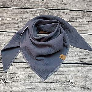 XXL Tuch grau hellgrau Halstuch Musselintuch Musselin Damen Damenhalstuch Dreieckstuch Wunschfarbe personalisiert handmade Schal Herren Männer Frauen