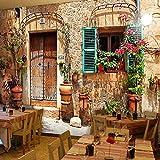 Wandgemälde Benutzerdefinierte 3D Fototapete Kunst Nostalgische Retro Cafe Restaurant Tapete Klassischen Ziegelstein Muster Wandbild Papier Dekor,260Cm(H)×420Cm(W)