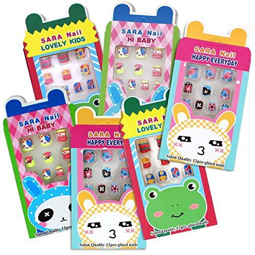 12 insiemi del chiodi false per bambini preincollati confezionato singolarmente molti disegni colori