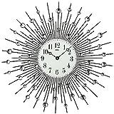 AMS 9380 Glasuhr Wohnzimmer Wand-Schmuck mit Glassteinen, Quarz Dekouhr ausgefallene Wanduhr mit Glasperlen - Glas Metall Designer-Uhr