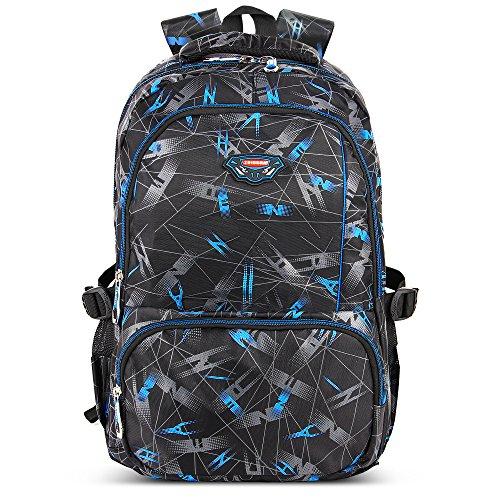 Kinder Weitermachen, Rucksack (AOKE Solide Zipper Computer Rucksack Cool Print Rucksack für junge Männer mit Geschenk Blau)
