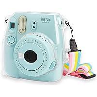 Annle Cristal Instax Mini 8 Couvercle en PVC pour Fujifilm Instax Mini 8 Mini 8+ Mini 9 Caméra de Film instantané avec Sangle Amovible Amovible - Transparent