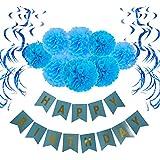 Wartoon HAPPY BIRTHDAY Papel feliz cumpleaños empavesado Banderines con 8 Papel de Seda Pom Poms Bola de la Flor y 15 Guirnaldas verticales para Decoraciones del Partido Fiesta de Cumpleaños, Azul