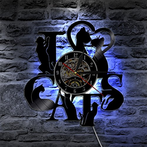 Justdolife Wanduhr Dekor Uhr Bunte LED Licht Kreative Hängende Uhr Wand Dekor mit Fernbedienung