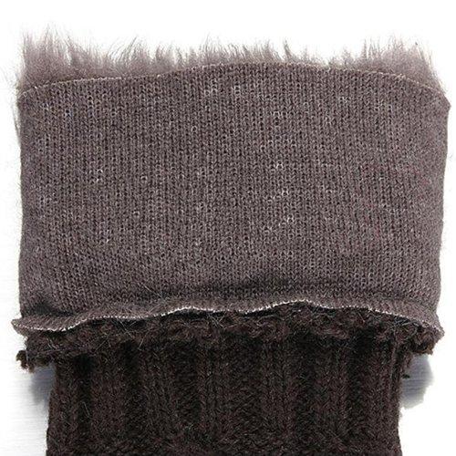 Lange Strick Armstulpen Stulpen Pulswärmer winter fingerlose Handschuhe Farbwahl (Dunkelgrau)