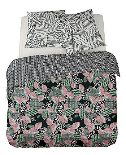 DORAN SOU Geneva design SAHONDRA 200x200 cm - Soldes - Parure de Lit pour 1 ou 2 Personnes : Housse de Couette 200x200 cm + Taies d'oreiller 65x65 cm