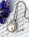 Véritable perle d'eau douce Argent sterling 925 Pendentif et chaîne - Collier de perles AAAA Zircone bijoux de mariée collier de demoiselle d'honneur collier de palourdes