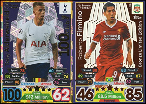 MATCH ATTAX 17 18 TOBY ALDERWEIRELD 100 CLUB CARD   ROBERTO FIRMINO BRONZE LIMITED EDITION CARD
