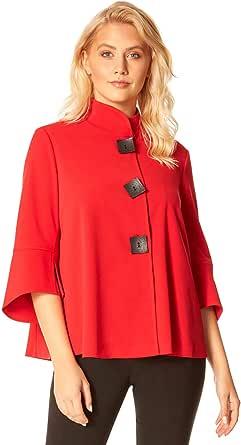 Roman Originals - Giacca da donna con collo alto e bottoni, stile casual, per l'autunno e le vacanze