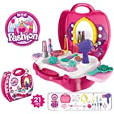 ARHA IINTERNATIONAL Kids Pretend Play Beauty Salon Fashion Play Makeup kit and Cosmetic Toy Set with Hairdryer, Mirror…