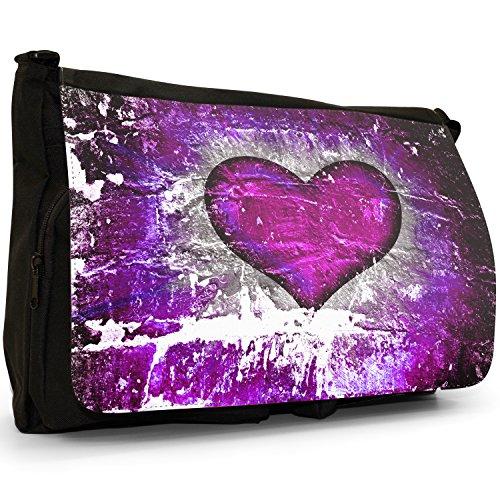 Cuore su muro di mattoni, colore: nero, Borsa Messenger-Borsa a tracolla in tela, borsa per Laptop, scuola Nero (Purple Grunge Heart)