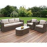 Dorset Conjunto de asiento sofá muebles de jardín de mimbre 3