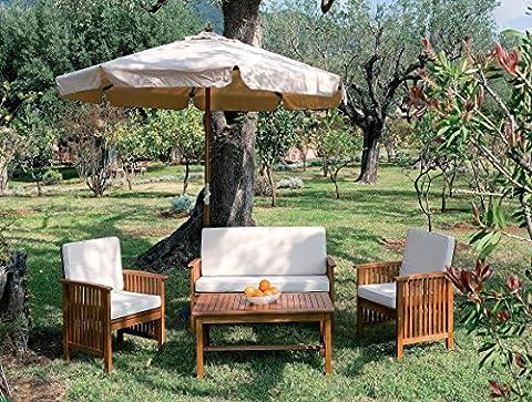 luxurygarden–Ensemble salon canapé avec fauteuils bancs en bois balau jardin extérieur