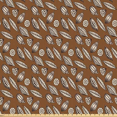ABAKUHAUS Erdfarben Microfaser Stoff als Meterware, Kakaobohnen Blätter, Deko Basteln Polsterstoff Textilien, 2M (160x200cm), Dunkelbraun Braun Elfenbein