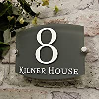 House Sign Address Plaques Door Number Slate Grey Modern Clear Glass Effect Acrylic