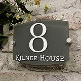 Placa para casa, diseño Moderno, para puerta, personalizable con número y Dirección, efecto de cristal, pizarra de acrílico gris