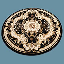BAGEHUA Tamaño Personalizado Turquía Alta Calidad gruesa clásico salón dormitorio estudio alfombra redonda de 160cm de diámetro, Círculo, 6951 negro