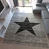 Teppich-Home Kurzflor Teppich Wohnzimmer Stern Muster Meliert Rot. Schwarz, Beige Grau Pflegeleicht, Farbe:Grau, Maße:200x280 cm