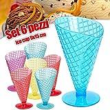 Bakaji 6 x Cono Gelato Ice Coupe Coppa Porta Patatine Salse Snack Plastica 9 x 15cm Colori Assortiti ( PROMO PACK 6 PEZZI )