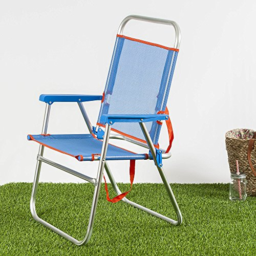 Habita Home Silla Plegable DE Playa Azul 51x56x90/d22 Color Azul