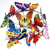 Austor 24 PCS Garden Butterflies on Sticks 12CM Butterfly Stakes Party Supplies Garden Decor Decorations Patio Ornaments for Outdoor Yard - AUSTOR - amazon.co.uk