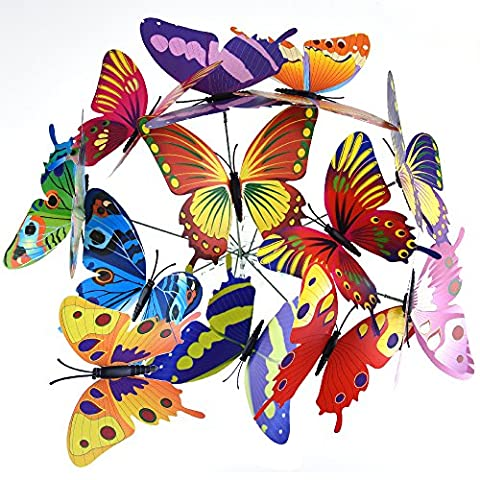 Austor 24 PCS Garden Butterflies on Sticks 12CM Butterfly Stakes Party Supplies Garden Decor Decorations Patio Ornaments for Outdoor
