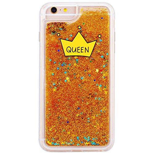 GrandEver Coque iPhone 6 Plus / iPhone 6s Plus Glitter Liquide à Paillette Souple TPU Silicone Gel Transparente Case avec Bumper à Motif Design Dessin Animé --- Lèvre Couronne