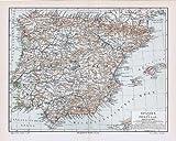 Spanien und Portugal. Historische Landkarte (Sammlerstück) von 1897.