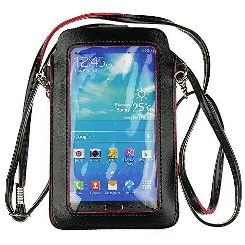 Universal PU Leder Frauen Crossbody Geldbörse Tasche Handyhülle Kartenhalter für iPhone XS Max 8/Galaxy A10 S9 S8 Plus S7 Edge J8 J7 J4 J3 Orbit Note 5/Google Pixel 3a/BLU VIVO XL4/R2 Plus