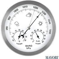 MAVORI® Station météo analogique pour l'intérieur et l'extérieur avec Cadre en Acier Inoxydable au Design Moderne Comprenant baromètre, hygromètre et thermomètre