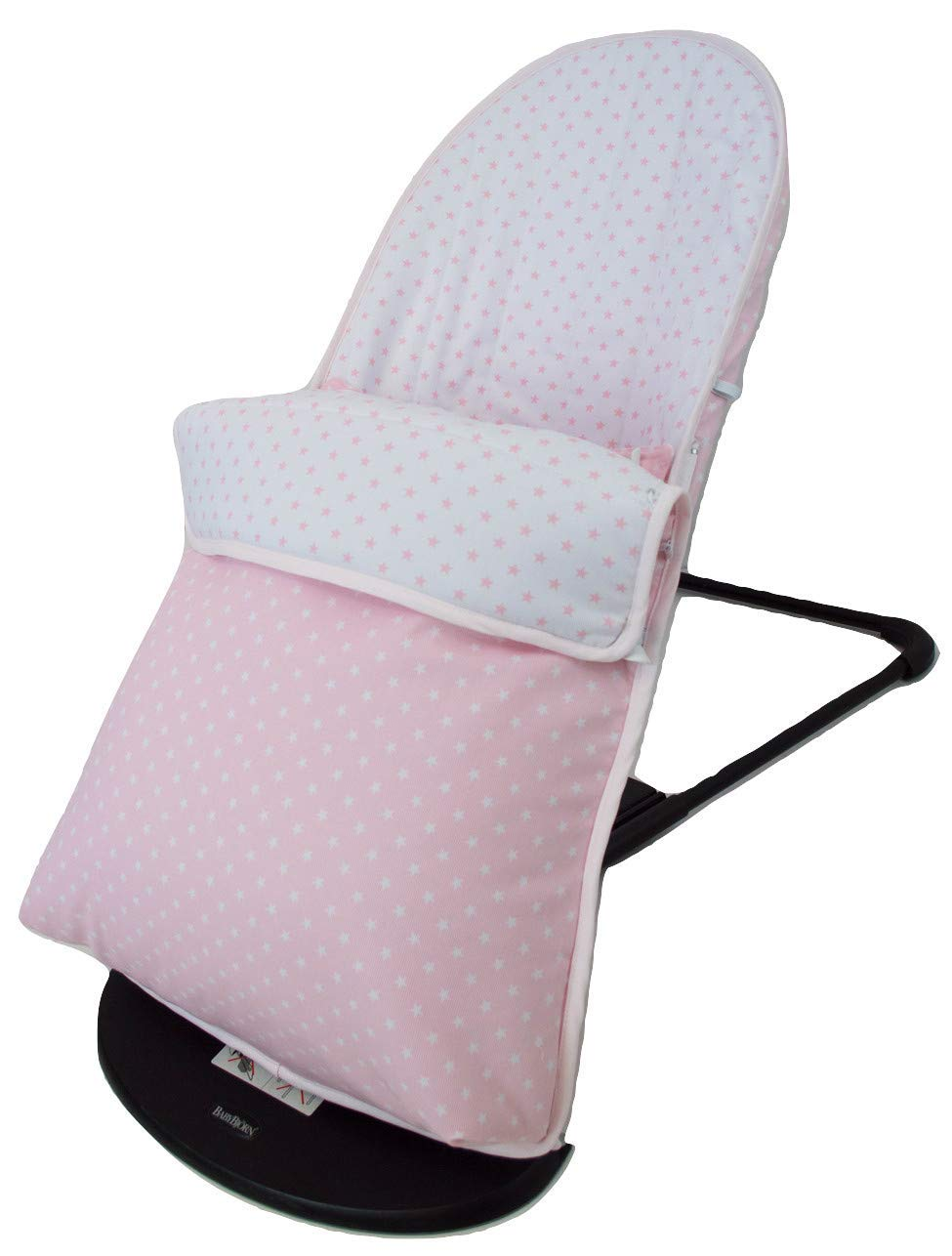 Baby Bouncer Cover and Footmuff for BabyBjörn Balance and Soft Personalized with Embroidered Name. Several Models Available (Stars Pink) Borda y más Upholstery for totally replacing the original Babybjörn baby bouncer upholstery. It consists of FOOTMUFF and COVER. Compatible with Babybjörn Balance and Babybjörn Balance Soft. Made in natural soft and breathable pique, without chemical substances perfect for your baby as it reduces your baby's skin irritation or reaction. With our footmuff changeable into cover you will keep your baby war in the coldest days at the same time you provide your baby bouncer a new image. You only need to fit together the cover and the upholstery by the zippers and velcro system. The footmuff adjustable to 3 different positions. You won't need to worry about the blanket again; your baby will be able to play and sleep without being cold. Design: Made in pink pique with white stars combined with white pique and pink stars. 100% made in Spain with the best finishes and qualities. It can be easily removed and wash in the washing machine, programmes lower than 30 degrees and using organic or neutral soap. 5