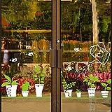 Sticker mural ZOZOSO Décoration De Vitrine De Magasin Porte En Verre Autocollant Mur De La Fenêtre Autocollant Plante De Jardin En Pot Plinthe Fenêtre Fleur...