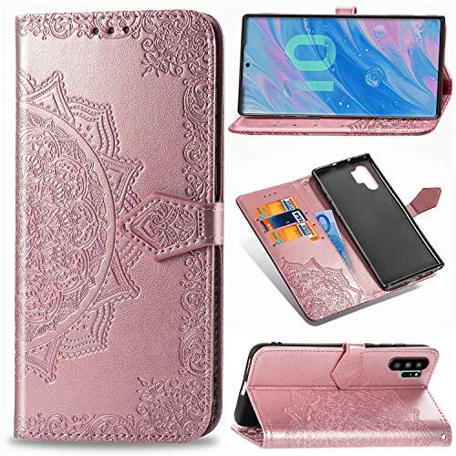 Abuenora Funda para Samsung Galaxy Note 10 Plus, Galaxy Note 10+ Carcasa Libro con Tapa Flip Case Antigolpes Golpes Cartera PU Cuero Suave Soporte con Correa Cordel - Mandala Oro Rosa