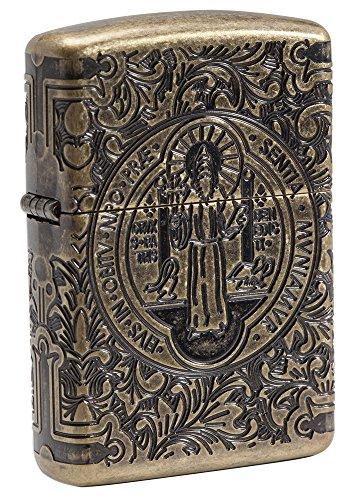 Zippo St. Benedict - Limited Edition 500 Pieces - Antique Silver - Special Collection 2017 Sturmfeuerzeug, Chrom, Silber, 6 x 4 x 2 cm
