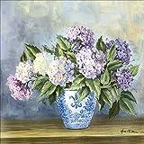 Artland Qualitätsbilder I Wandtattoo Wandsticker Wandaufkleber 30 x 30 cm Botanik Blumen Malerei Blau A6OP Hortensien