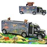 Dinosaurios Juguetes Jurassic World Camión Transporte con Tapete & 12 Piezas Dinosaurios + Animales Coches de Juguetes Juegos