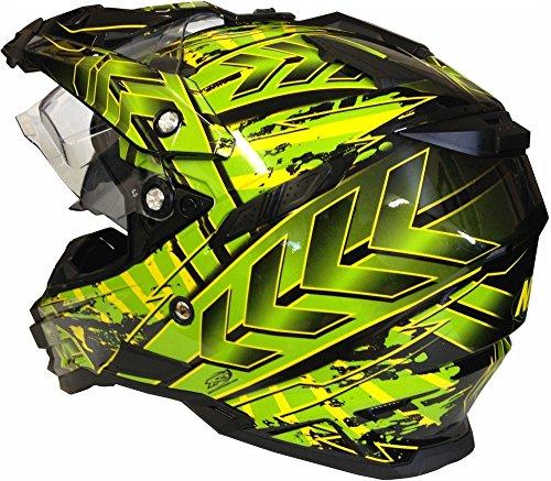 Motorradhelm MX Enduro Quad Helm Schwarz Grün mit Visier und Sonnenblende Gr. M - 3