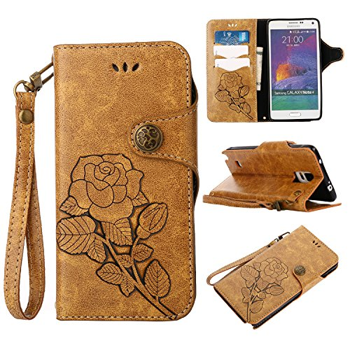 Samsung Galaxy Note 4 Hülle,Samsung Galaxy Note 4 Schutzhülle, Alfort Retro Design Dual Use Flip Hülle Cover Schale Book Type PU Leder + PC Hülle Innere Magnetverschluss Flip Case Wallet - Samsung 12 Tablet-fall